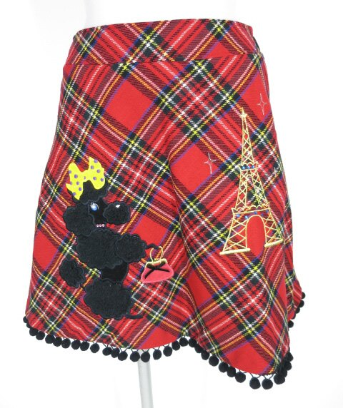 Emily Temple cute タータンチェックプードル柄スカート