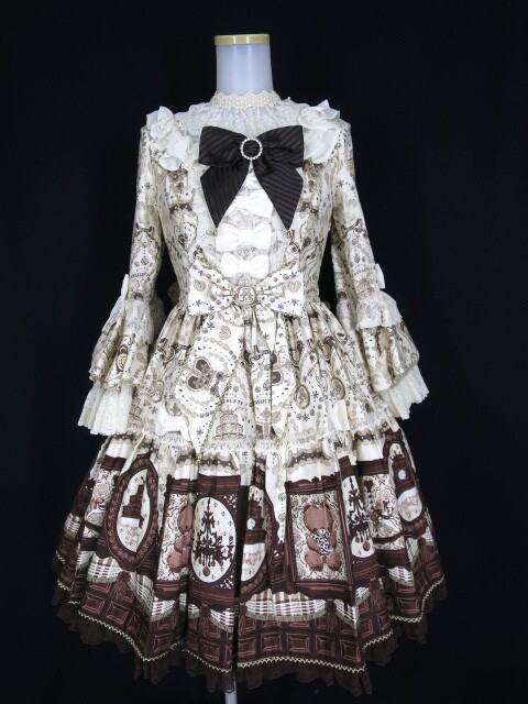 Angelic Pretty Musee du Chocolat Dress Set (ボンネット・チョーカーセット)