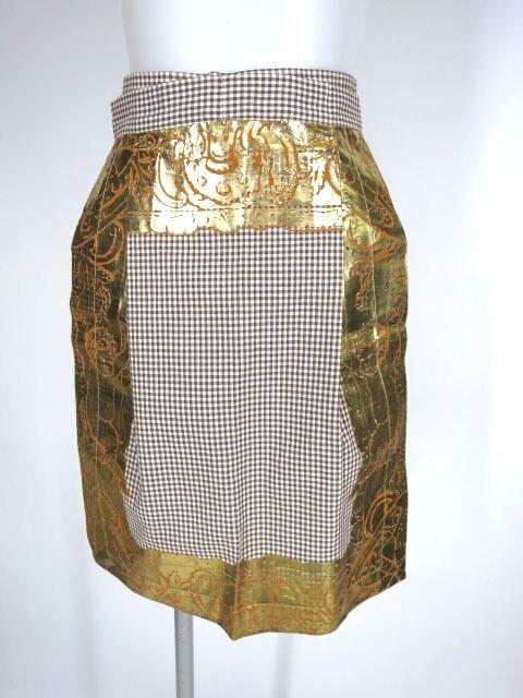 Vivienne Westwood 額縁プリントエプロン付きギンガムチェックスカート