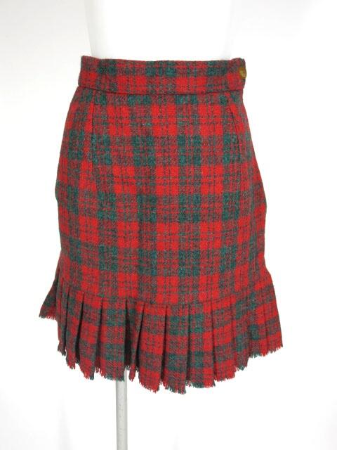 Vivienne Westwood ハリスツイード チェック柄裾プリーツスカート
