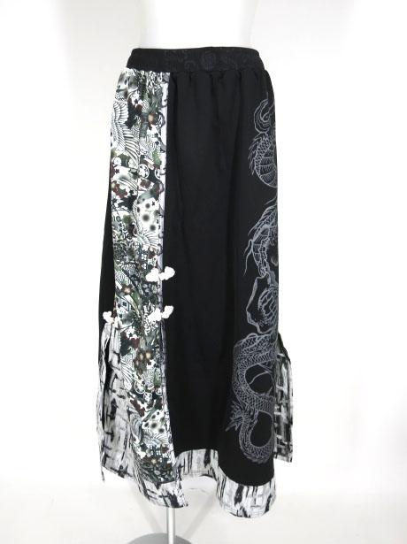 Qutie Frash 和柄切替チャイナボタンロングスカート