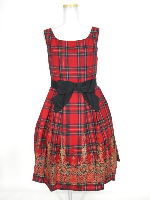 Jane Marple ウールタータンヴィクトリアンエンブロイダリーのミディドレス