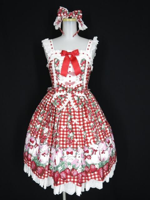 Angelic Pretty Ribbon Berry Bunnyジャンパースカート
