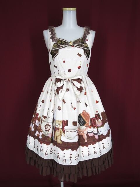BABY, THE STARS SHINE BRIGHT Fondant Chocolat Nounours Collection柄リボンジャンパースカート