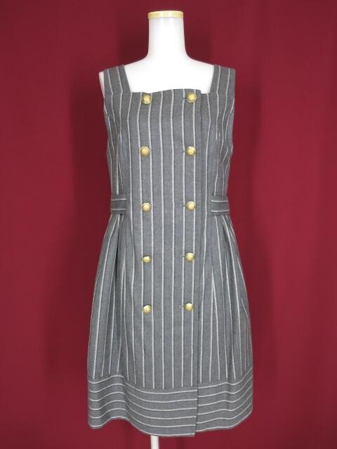 Jane Marple British stripe double breasted ドレス