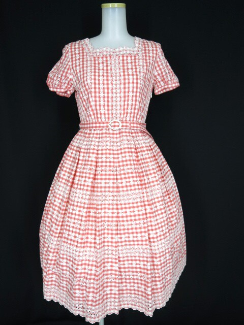 Jane Marple フラワー刺繍ギンガムチェックワンピース