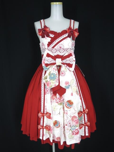 Metamorphose 花鳥風月~乙女のはなごろも~プリーツジャンパースカート(草柄リボン)