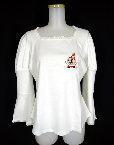 MAM クロックラビット刺繍ペプラム七分袖カットソー
