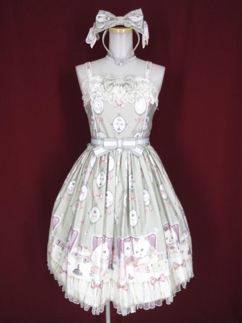 Angelic Pretty 猫のお茶会ジャンパースカートSet(JSK+KC+チョーカー)