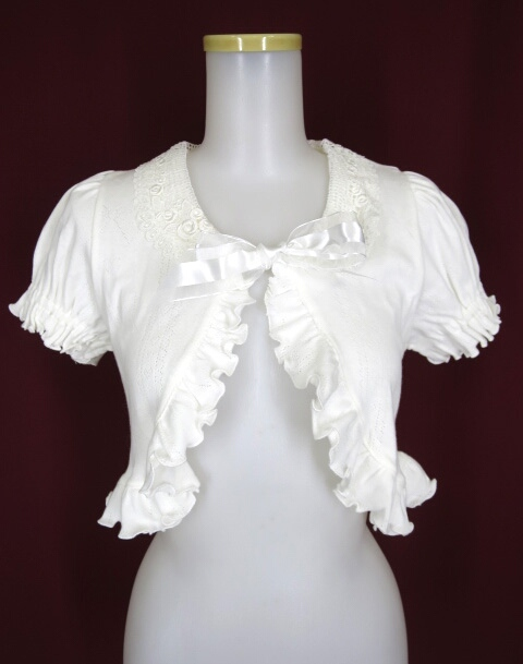 Victorian maiden Ribbon Heart パターンメッシュレース衿ボレロ