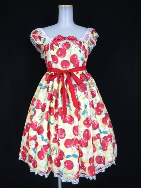 Angelic Pretty Fresh Cherry SpecialジャンパースカートSet(JSK+リボンクリップ)