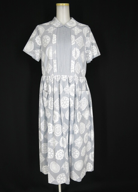 Jane Marple Dans Le Salon Vintage lace printのDayドレス