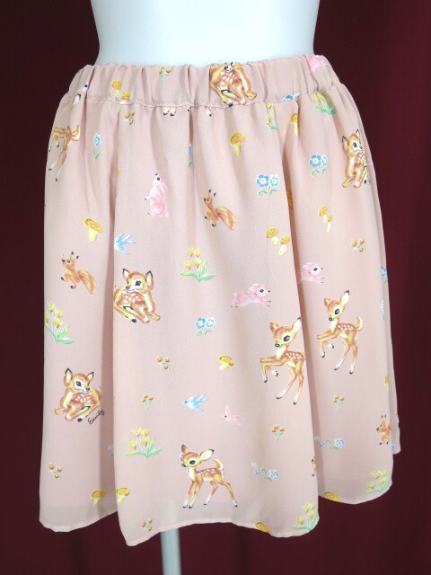 Emily Temple cute バンビ柄シフォンスカート