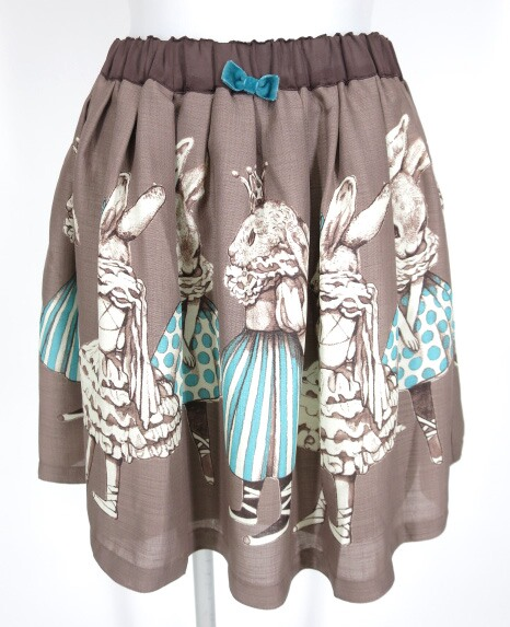 Emily Temple cute×ヒグチユウ�... ラビットバレリーナプリントスカート