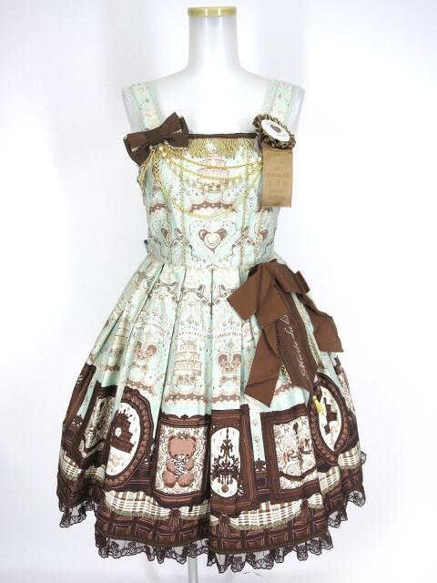 Angelic Pretty Musee du Chocolatジャンパースカート&ヘッドレス&ブローチ セット