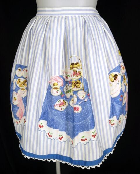 Emily Temple cute ストライプ柄 ティーパーティープリントスカート