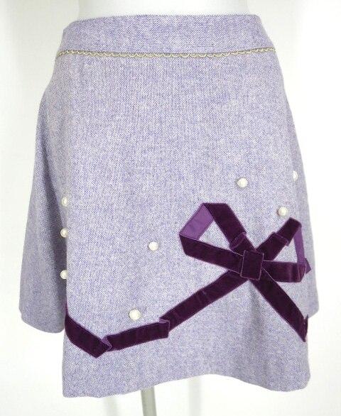 Emily Temple cute パール&別珍リボン付きツイードスカート
