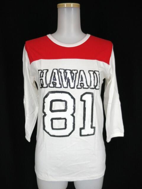 AHCAHCUM-MUCHACHA スパンコール刺繍 七分袖ラガーTシャツ