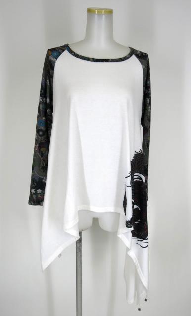 Qutie Frash 袖和柄ラグラン変形カットソー
