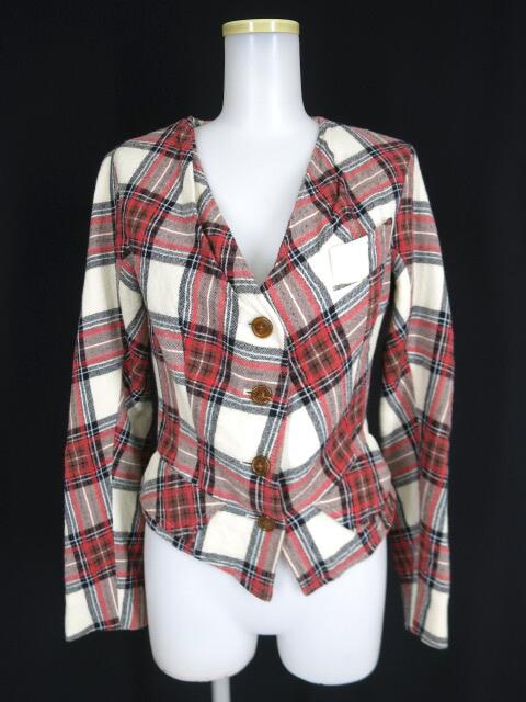 Vivienne Westwood タータンチェックノーカラージャケット