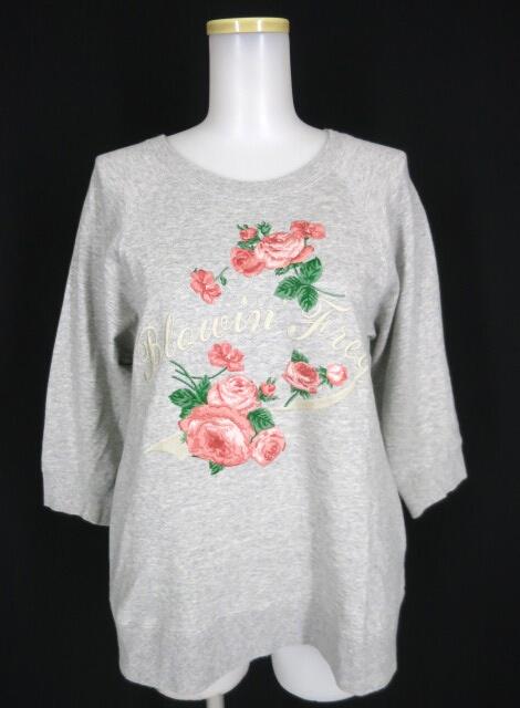Jane Marple ローズ刺繍ラグラン七分袖スウェットトレーナー