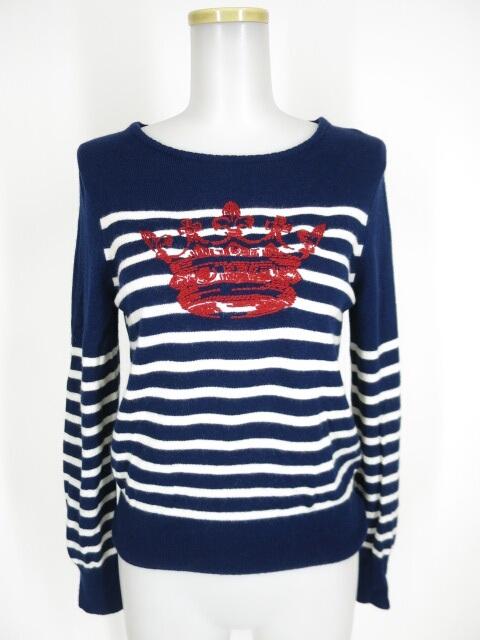 Jane Marple Dans Le Salon 王冠刺繍ボーダーニットセーター