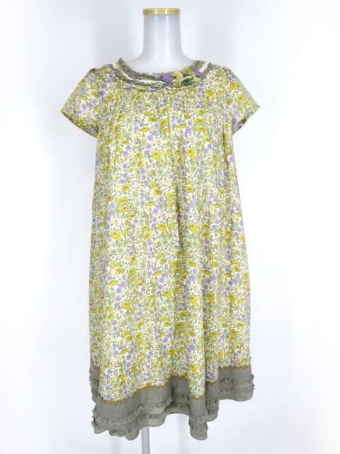 Jane Marple 花柄Aライン半袖ワンピース