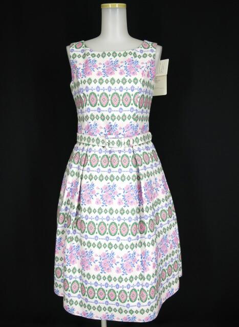 Jane Marple Dans Le Salon ベルト付きジャガード花柄ノースリーブワンピース