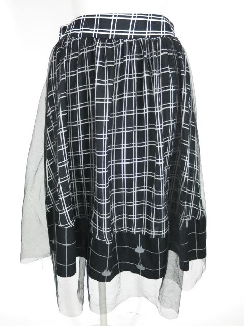 MINT NeKO チュール重ねチェック柄スカート