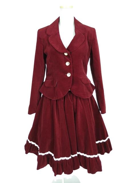 Metamorphose カメオボタン別珍ジャケット&スカート セット