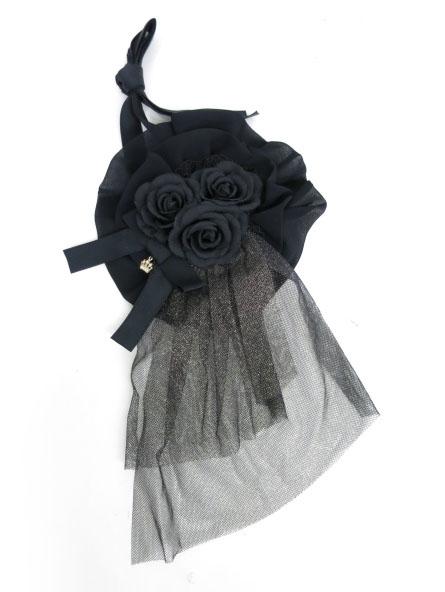 Metamorphose 巻きバラ&チュール付き円形ヘッドドレス