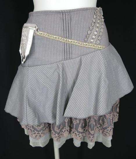 OZZ ANGELO アシンメトリーフリルストライプスカート