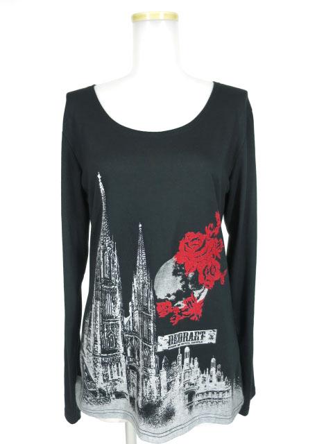 Deorart 古城と薔薇柄長袖Tシャツ
