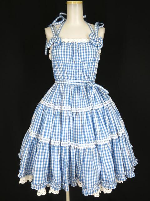 Angelic Pretty ギンガムシャーリングジャンパースカート&ヘアポニー