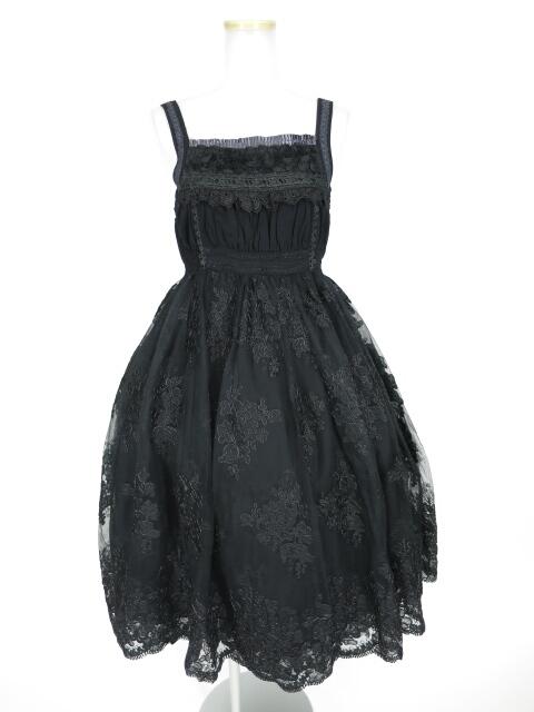 OZZ ANGELO 刺繍入りチュール重ねジャンパースカート