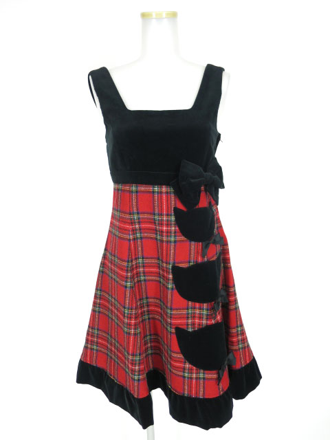 Heart E ネコポケット付きタータンチェックジャンパースカート