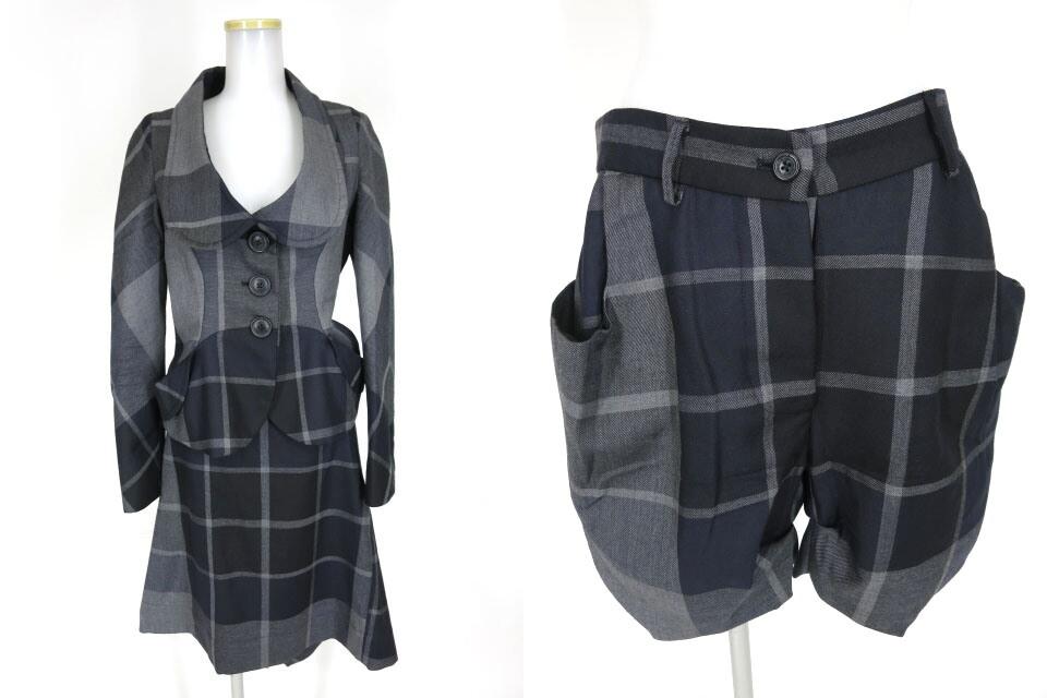 ANGLOMANIA Vivienne Westwood チェック柄ジャケット&スカート&ショートパンツ 3ピース