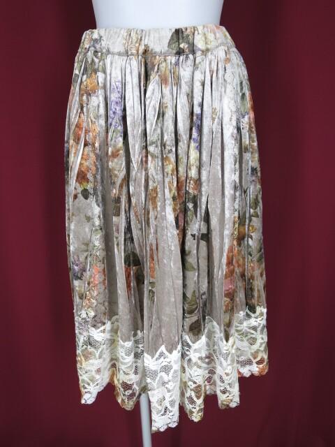Jane Marple Dans Le Salon ローズプリントギャザーベロアスカート