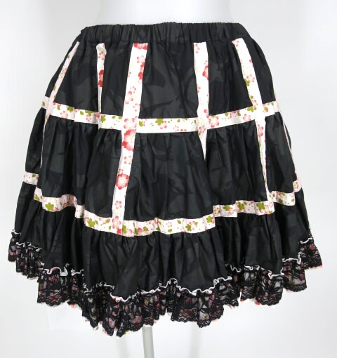 gouk 雅 和柄格子ボリュームパニエスカート
