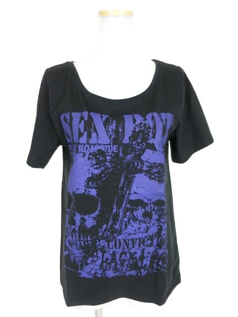 SEX POT クロス&スカルプリントTシャツ