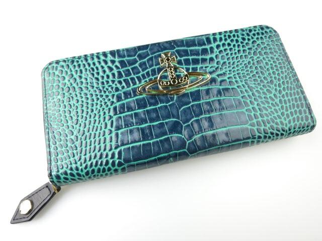 Vivienne Westwood パイソン型押しレザー ラウンドファスナー長財布