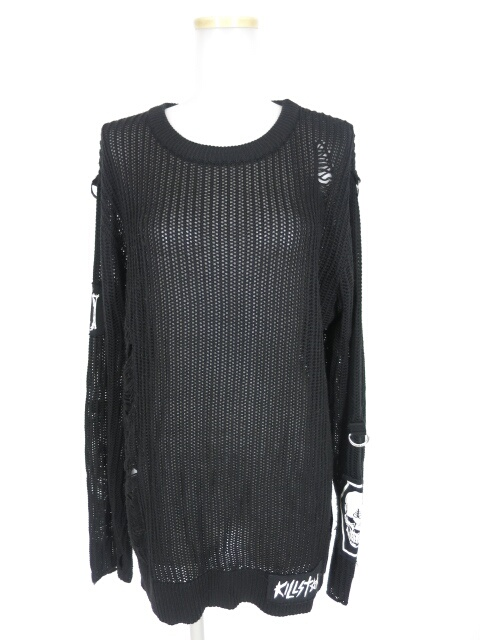 KILLSTAR 布パッチ付きダメージニットビッグセーター