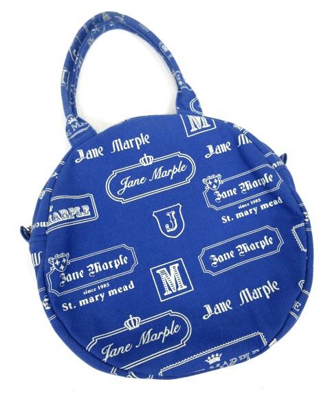 Jane Marple ロゴプレート柄円形バッグ