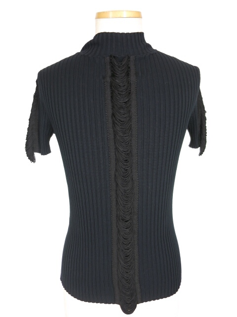 JPG フリンジ付きハイネック半袖リブニットセーター