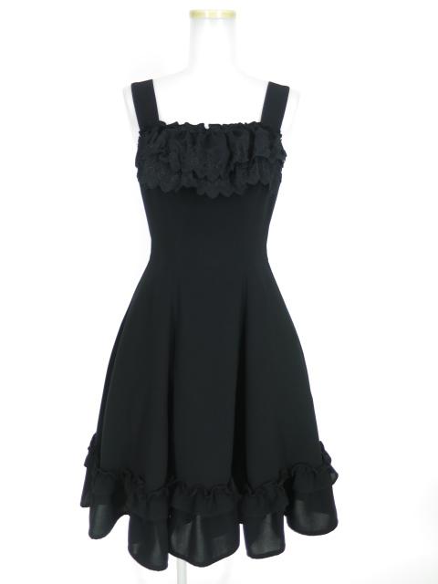 Mille noirs 薔薇レース付きジャンパースカート