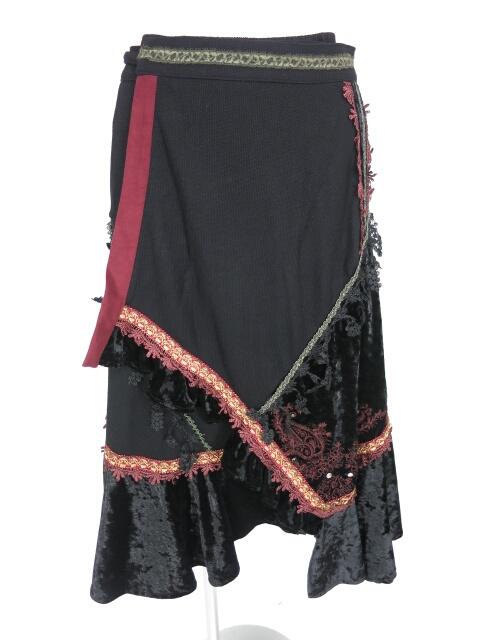 OZZ ONESTE ベロア切替巻きスカート