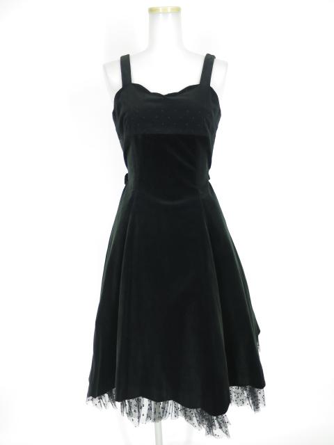 Victorian maiden ドットチュール付き別珍ジャンパースカート