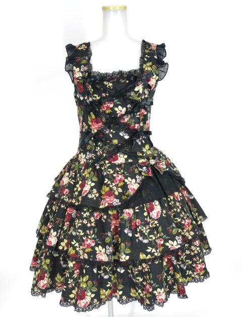 Metamorphose 花柄ローウエストジャンパースカート