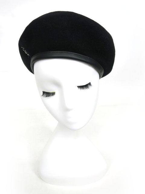 Moi-meme-Moitie 燭台ロゴ刺繍ベレー帽