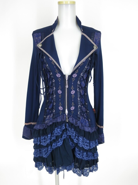 Ozz Croce 薔薇刺繍 編み上げロングジャケット